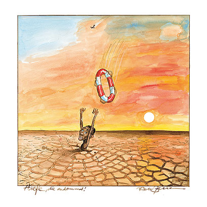 Peter Bauer, Rostock, Cartoon »Hilfe, die ankommt« (Aus dem Buch Peter Bauer »Zeichnungen 2000-2011«