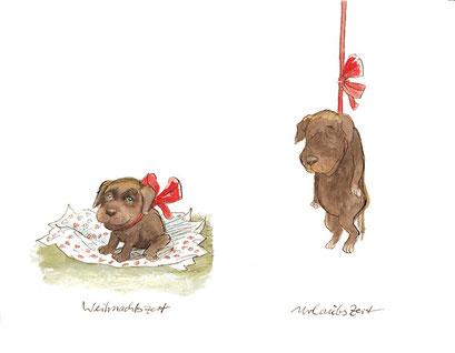 Peter Bauer, Rostock, Cartoon »Weihnachtszeit–Urlaubszeit« (Aus dem Buch »Peter Bauer Hunde«)