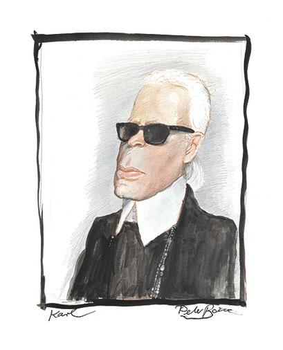 Peter Bauer, Rostock, Zeichnung »Karl« (Karl Lagerfeld)