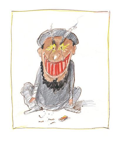 Peter Bauer, Rostock, Cartoon »Taliwahn« (Aus dem Buch »Totgelachte leben länger«)