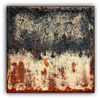 BLACK RUST - 60 x 60 cm - 2017 - Acrylique, sable, gravier, poudre de marbre sur toile de lin