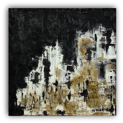 NUIT DE FETE - 80 x 80 cm - 2017 - Acrylique, enduits, sable, gravier sur toile de lin