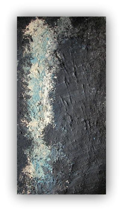 MAGMA - 60 x 120 cm - 2016 - Acrylique, pâte de graphite, enduits, sable, gravier sur toile de lin