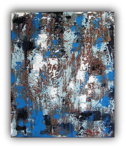 AZULEJOS - 38 x 46 cm - 2017 - Acrylique et inclusion de végétaux sur toile de lin