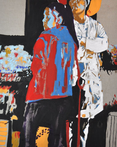 two market ladies, 80cm x 100cm acrylic on natural canvas