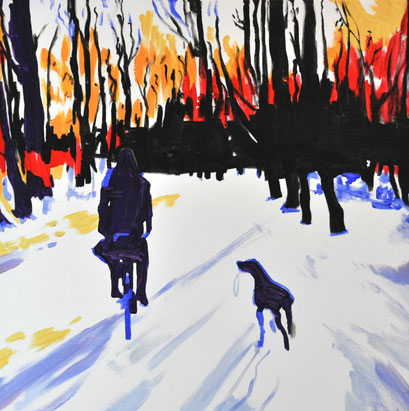 winter dog, 60cm x 60cm acrylic on canvas
