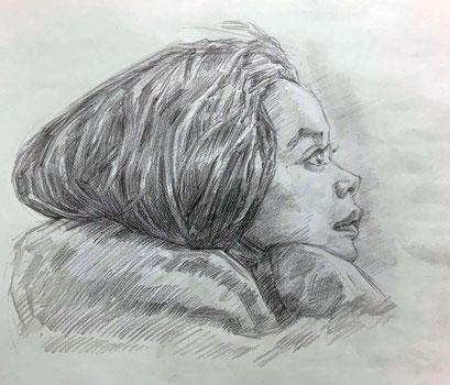 人気の肖像画人物デッサン人物画3