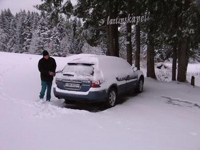 ... soviel Schnee haben wir am Start unserer Reise nicht erwartet