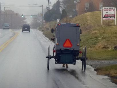 Amish Leute mit Kutsche und Pferd unterwegs, PA, USA