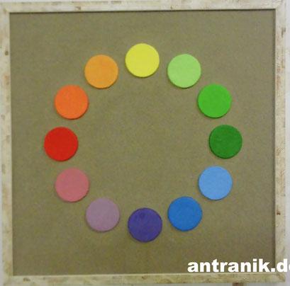 Farbkreis im Sand