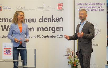 Dr. Matthias Heuberger (IZGS) beim II. Hessischen Engagementkongress 2021 an der Ev. Hochschule Darmstadt.   © Foto: S. Schlitt, EKKW