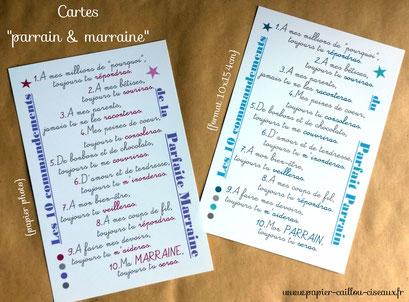 Cartes parrain marraine baptême lilas et bleu