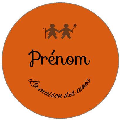badge prénom professionnel orange