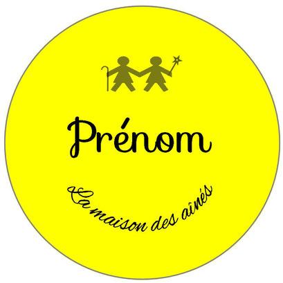 badge prénom professionnel jaune