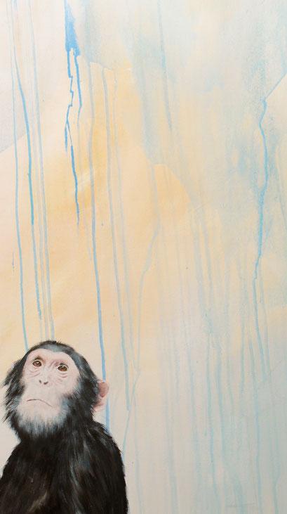 Ausschnitt aus Chimp Fawkes, 2016, Acryl auf Leinwand, 100 x 170 cm