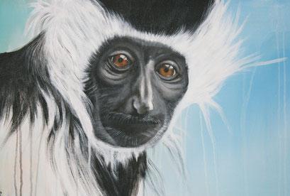 Ausschnitt aus STUMMER BEOBACHTER, 2016, Acryl auf Leinwand, 90 x 80 cm