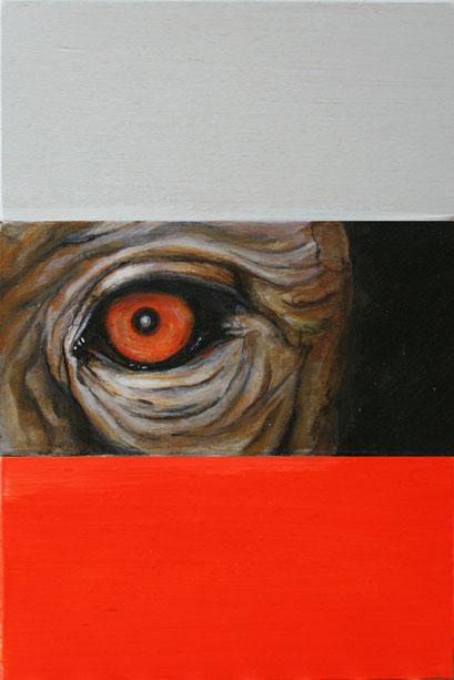 observer:redorange, 2019, Acryl auf Holz, 10 x 15 x 3 cm
