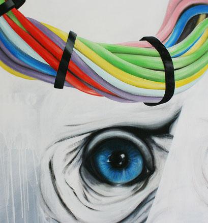 Ausschnitt aus WIR, IHR, SIE - JULOLO, 2019, Acryl auf Leinwand, 110 x 160 cm