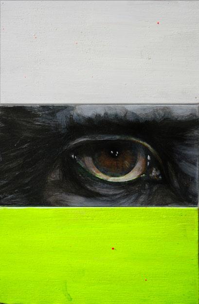 observer:yellow, 2018, Acryl auf Holz, 10 x 15 x 3 cm
