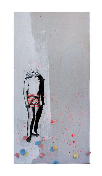 BIRDBATH- Vogeltränke I, 2018 Acryl/Tusche auf Holz, 15 x 30 x 3 cm