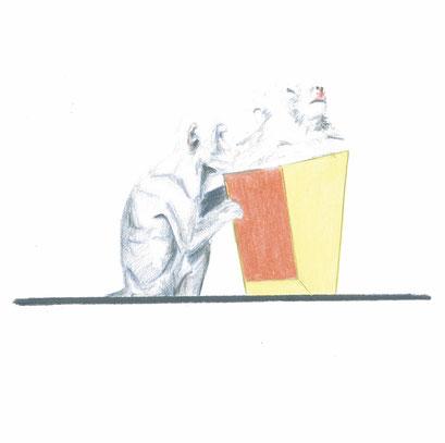 Verlorene Pflege, 2014, Farbstift auf Papier, 12 x 12 cm