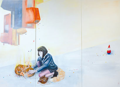 Die Zähmung, 2014,  Acryl auf Leinwand, 300 x 200 cm