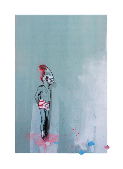 bump it, Sergeant! –  Feldwebel, 2019, Acryl auf Holz, 20 x 30 x 3 cm