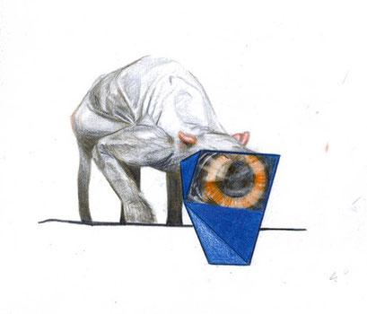 Voyeur, 2014, Farbstift auf Papier, 12 x 12 cm