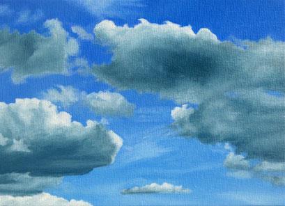 <b>Wolkenlandschaft 6</b><br>Öl/Malkarton | 2009 | 13 x 18 cm