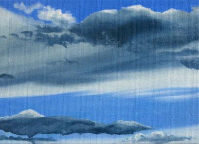 <b>Wolkenlandschaft 8</b><br>Öl/Malkarton | 2009 | 13 x 18 cm<br><small>(Privatbesitz)