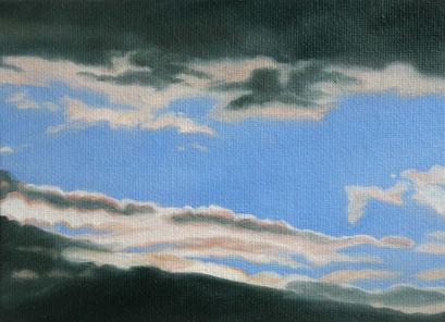 <b>Wolkenlandschaft 32</b><br>Öl/Malkarton | 2009 | 13 x 18 cm