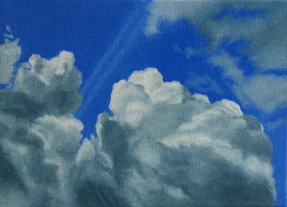 <b>Wolkenlandschaft 42</b><br>Öl/Malkarton | 2009 | 13 x 18 cm