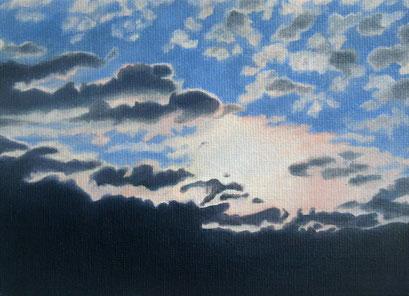 <b>Wolkenlandschaft 17</b><br>Öl/Malkarton | 2009 | 13 x 18 cm<br><small>(Privatbesitz)