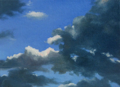 <b>Wolkenlandschaft 3</b><br>Öl/Malkarton | 2009 | 13 x 18 cm<br><small>(Privatbesitz)