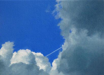 <b>Wolkenlandschaft 15</b><br>Öl/Malkarton | 2009 | 13 x 18 cm