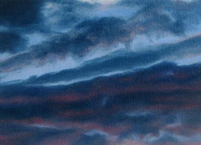 <b>Wolkenlandschaft 39</b><br>Öl/Malkarton | 2009 | 13 x 18 cm<br><small>(Privatbesitz)