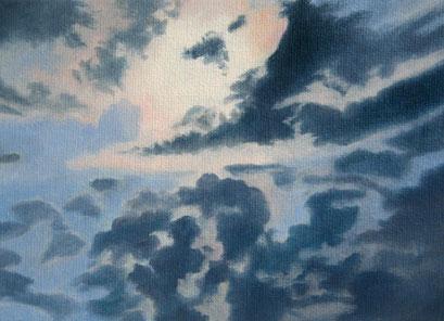 <b>Wolkenlandschaft 18</b><br>Öl/Malkarton | 2009 | 13 x 18 cm<br><small>(Privatbesitz)