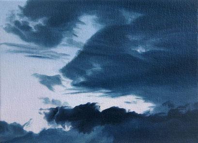<b>Wolkenlandschaft 33</b><br>Öl/Malkarton | 2009 | 13 x 18 cm<br><small>(Privatbesitz)