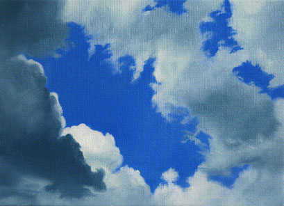 <b>Wolkenlandschaft 13</b><br>Öl/Malkarton | 2009 | 13 x 18 cm<br><small>(Privatbesitz)