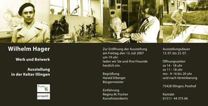 Einladungskarte für  Wilhelm Hager, Illingen