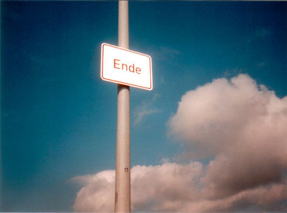 ende for büsum, ZWISCHEN DEN DEICHEN, 2000. fake traffic signs to mark the end of germany,  vinyl plot on alu dibond 40x60cm