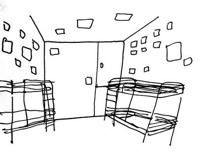 Skizze für Hostel heart ofgold