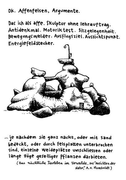 affenfelsen, arbeitsbegleitende gedankenskizze, copyright chantal labinski 2013