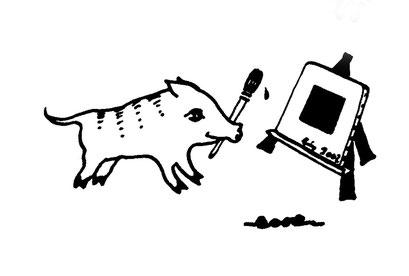 schwein ein schwarzes quadrat malend, arbeitsbegleitende gedankenskizze, copyright chantal labinski 2013
