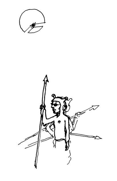 speerwerfer, arbeitsbegleitende gedankenskizze, copyright chantal labinski 2013