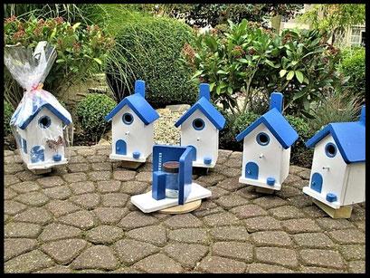 Grieks pindakaas pot houder , blauw-wit, model _1 met 4 Grieks nestkastjes en cadeau