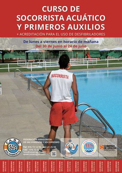 Cartel para cursos de verano de Salvamento para la Federación Aragonesa de Salvamento y Socorrismo.
