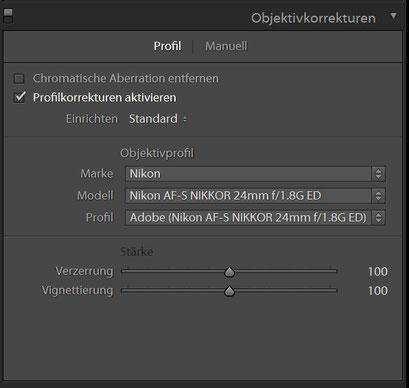 Objektivkorrekturen HDR Preset 1 für Lightroom