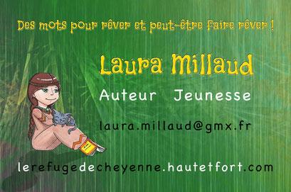 Exemple de test N°10 pour la carte de visite de l'auteur Laura Millaud réalisée par la graphiste Cloé Perrotin