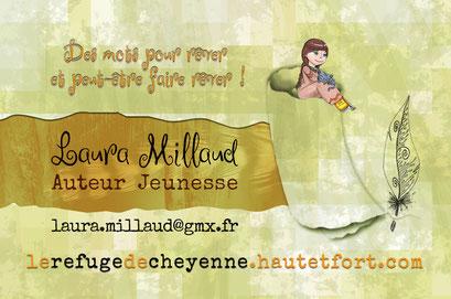 Exemple de test N°9 pour la carte de visite de l'auteur Laura Millaud réalisée par la graphiste Cloé Perrotin